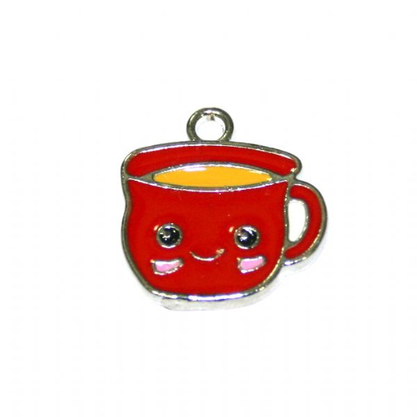 1pce 16*14mm Rhodium plated red cuppa / cup of tea enamel charm - S.D03 - CHE1163